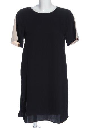 Zara Basic Kurzarmkleid schwarz-wollweiß Casual-Look