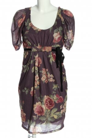 Zara Basic Kurzarmkleid lila Allover-Druck Elegant