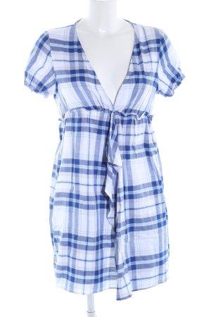Zara Basic Kurzarmkleid blau-weiß Karomuster Casual-Look