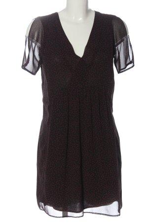 Zara Basic Kurzarmkleid schwarz-rot Allover-Druck Elegant