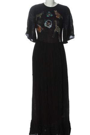 Zara Basic Kurzarmkleid schwarz-blau Casual-Look