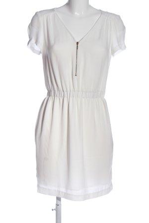 Zara Basic Kurzarmkleid weiß Casual-Look