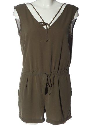 Zara Basic Kurzer Jumpsuit khaki Casual-Look