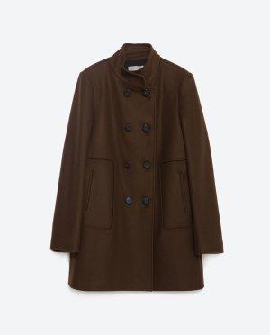 Zara Basic Heavy Pea Coat brown