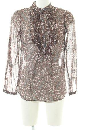 Zara Basic Langarm-Bluse abstraktes Muster Casual-Look