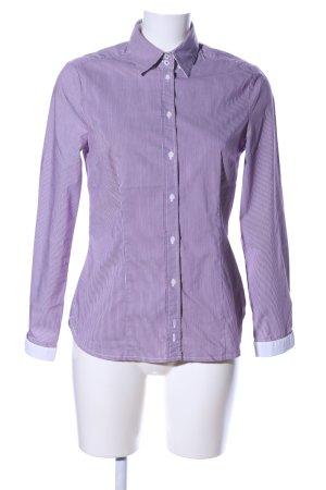 Zara Basic Langarm-Bluse lila-weiß Allover-Druck Casual-Look