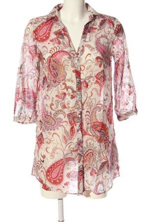 Zara Basic Langarm-Bluse pink-weiß abstraktes Muster Casual-Look