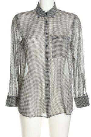 Zara Basic Langarm-Bluse schwarz-weiß abstraktes Muster klassischer Stil