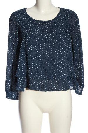 Zara Basic Langarm-Bluse blau-weiß Punktemuster Casual-Look