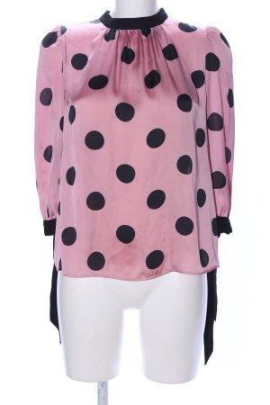 Zara Basic Langarm-Bluse pink-schwarz Punktemuster Casual-Look
