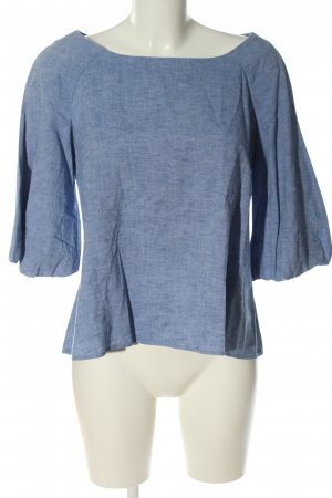 Zara Basic Langarm-Bluse blau meliert Casual-Look