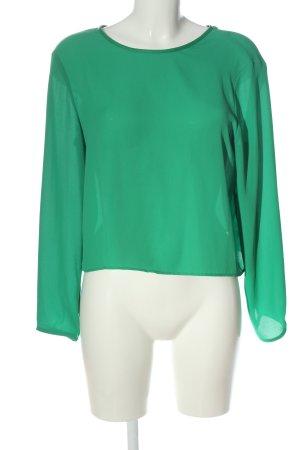 Zara Basic Langarm-Bluse grün Business-Look