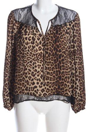 Zara Basic Langarm-Bluse Leomuster Casual-Look