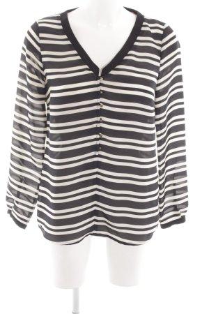 Zara Basic Langarm-Bluse schwarz-weiß Streifenmuster Casual-Look