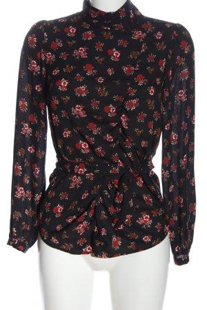 Zara Basic Langarm-Bluse schwarz-rot Allover-Druck Business-Look