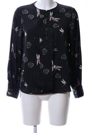 Zara Basic Langarm-Bluse schwarz-wollweiß Motivdruck Elegant