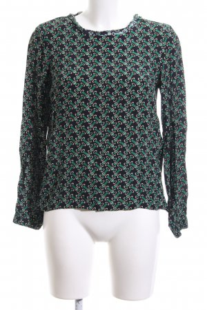 Zara Basic Langarm-Bluse schwarz-grün Allover-Druck Casual-Look