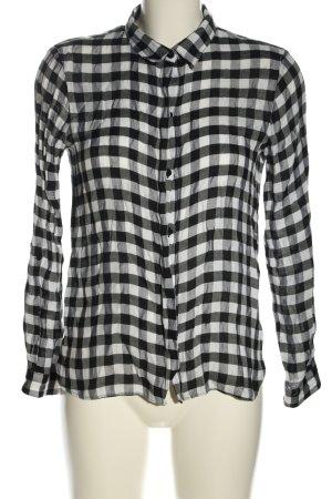 Zara Basic Langarm-Bluse schwarz-weiß Karomuster Casual-Look