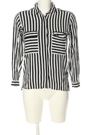 Zara Basic Langarm-Bluse schwarz-wollweiß Streifenmuster Business-Look