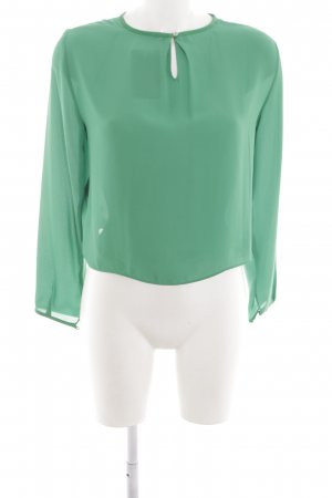 Zara Basic Langarm-Bluse grün Casual-Look