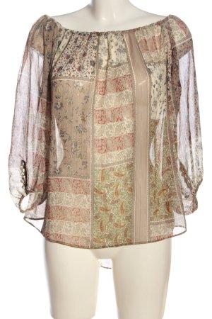 Zara Basic Langarm-Bluse Allover-Druck Casual-Look