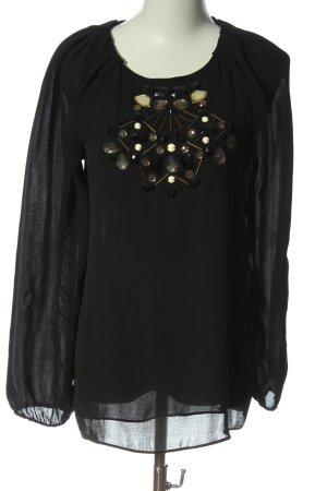 Zara Basic Langarm-Bluse schwarz Casual-Look