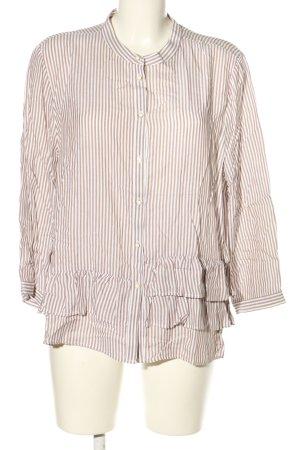 Zara Basic Langarm-Bluse weiß-braun Streifenmuster Casual-Look
