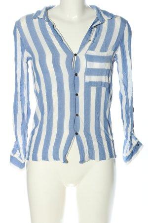Zara Basic Langarm-Bluse blau-weiß Allover-Druck Casual-Look