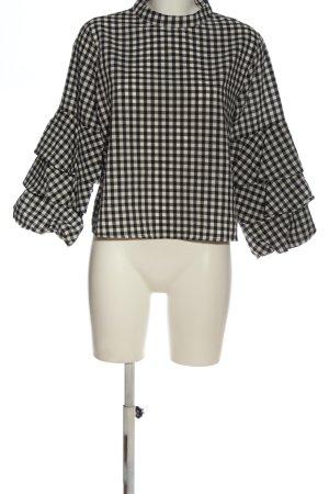 Zara Basic Langarm-Bluse schwarz-wollweiß Karomuster klassischer Stil