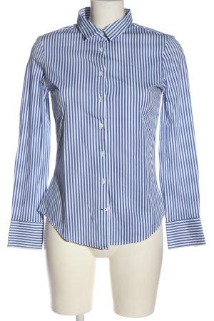 Zara Basic Langarm-Bluse weiß-blau Streifenmuster Business-Look