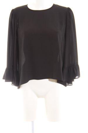 Zara Basic Langarm-Bluse schwarz Business-Look