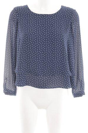 Zara Basic Langarm-Bluse blau-weiß Punktemuster Business-Look