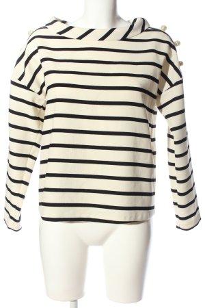 Zara Basic Langarm-Bluse creme-schwarz Streifenmuster Casual-Look