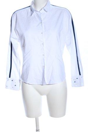 Zara Basic Langarm-Bluse weiß Streifenmuster Business-Look