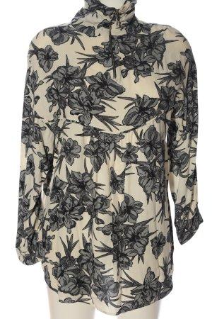 Zara Basic Langarm-Bluse creme-schwarz Allover-Druck Casual-Look
