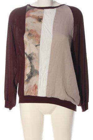 Zara Basic Langarm-Bluse rot-creme Blumenmuster Elegant