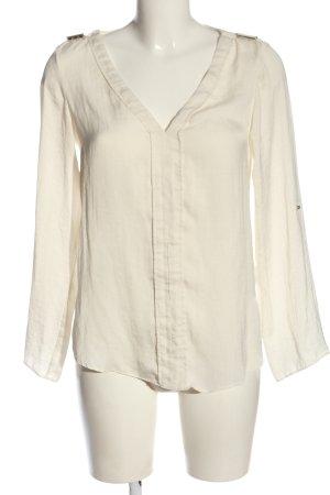 Zara Basic Langarm-Bluse wollweiß Business-Look