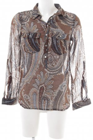 Zara Basic Langarm-Bluse braun-hellgrau abstraktes Muster Business-Look