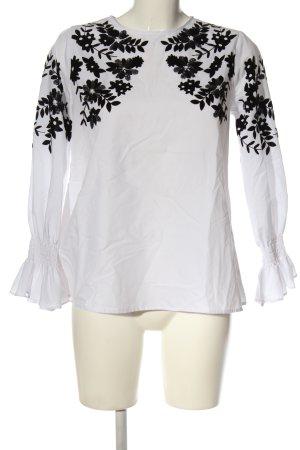Zara Basic Langarm-Bluse weiß-schwarz Blumenmuster Casual-Look