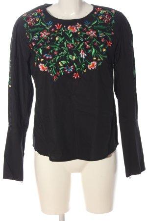 Zara Basic Langarm-Bluse schwarz Blumenmuster Casual-Look