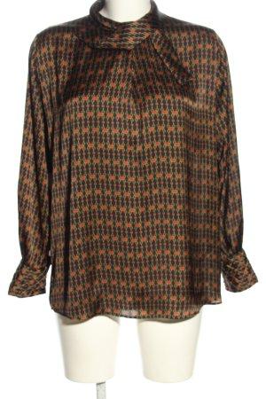 Zara Basic Langarm-Bluse braun-rot Allover-Druck Business-Look