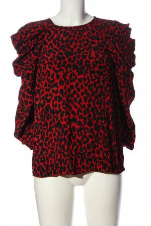 Zara Basic Langarm-Bluse rot-schwarz Leomuster Casual-Look