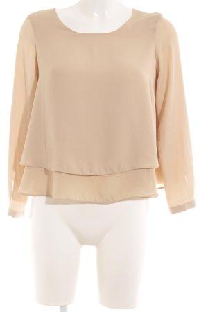 Zara Basic Langarm-Bluse beige Casual-Look