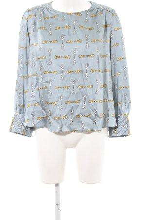 Zara Basic Langarm-Bluse blassblau-goldorange abstraktes Muster Elegant
