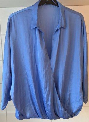 Zara Basic Langarm-Bluse blau