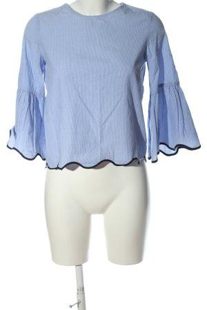 Zara Basic Langarm-Bluse blau Streifenmuster Casual-Look