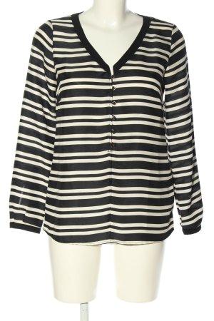 Zara Basic Blouse à manches longues blanc-noir imprimé allover