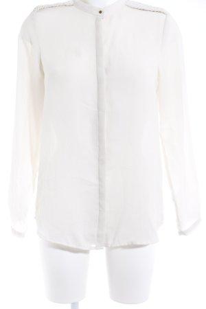 Zara Basic Langarm-Bluse creme Casual-Look