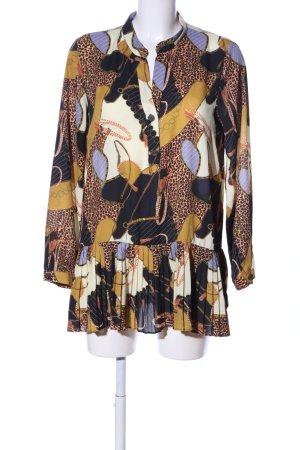 Zara Basic Langarm-Bluse braun-blassgelb Allover-Druck Casual-Look