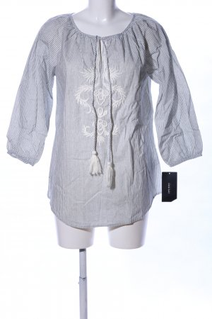 Zara Basic Langarm-Bluse hellgrau-weiß Mustermix Business-Look